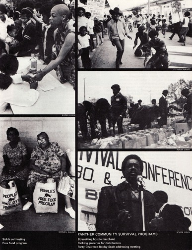 layout in ramparts magazine illustrating some of the community programs that the black panther party pioneered. photos by stephen shames and roger lubin.