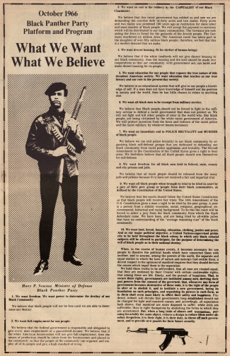 ocober 1966 black panther party platform and program. what we want what we believe