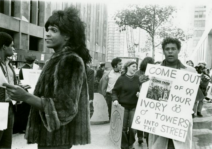 Marsha P. Johnson handing out flyers in support of the Gay Liberation Front in New York. New Museum