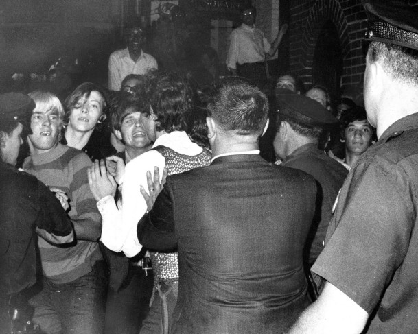 The scene outside Stonewall Inn in Greenwich Village on June 28, 1969.